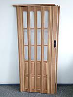 Двери гармошка полу остекленные  бук 503, 860х2030х12мм, фото 1