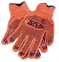 Перчатки х/б с ПВХ-точками 10 кл, 2 нити оранжевые