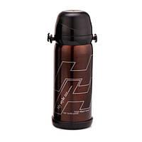 Термос 800 мл (2 крышки лето и зима, ремень), коричневый