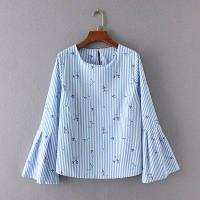 Голубая блузка с широкими рукавами, фото 1