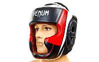 Шлем боксерский с полной защитой кожаный VENUM (черный-белый, р-р M-XL)