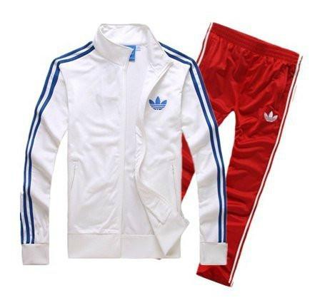 Спортивный костюм Adidas, белый верх, красный низ, с лампасами R163