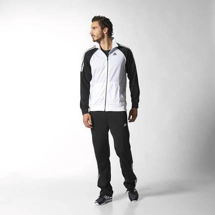 Спортивный костюм Adidas, белое туловище, черные рукава, черные штаны, R164, фото 2