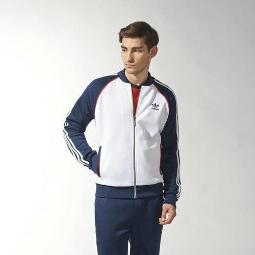 Спортивный костюм Adidas, белое туловище, синие рукава, синие штаны, R165