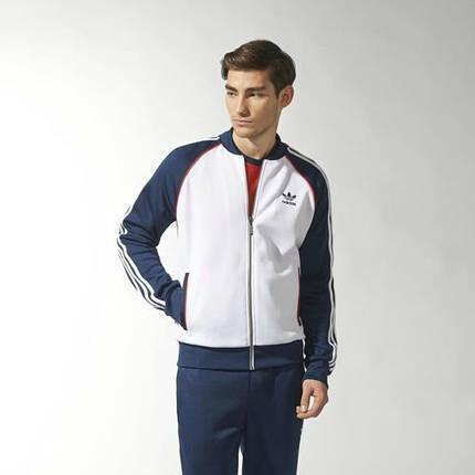Спортивный костюм Adidas, белое туловище, синие рукава, синие штаны, R165, фото 2