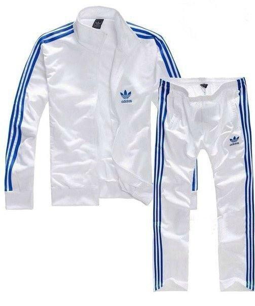 Спортивный костюм Adidas, белый костюм с синими лампасами R167