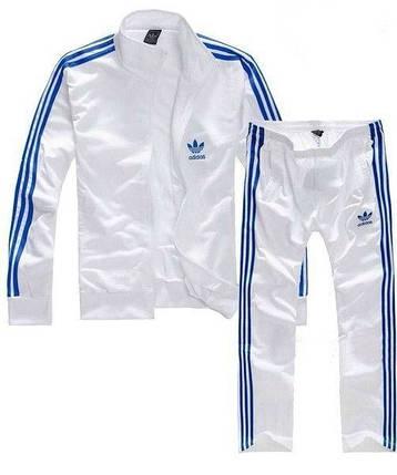 Спортивный костюм Adidas, белый костюм с синими лампасами R167, фото 2