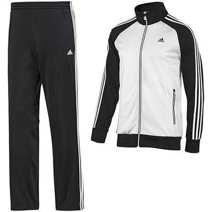 Спортивный костюм Adidas, белое туловище, черные рукава, черные штаны,с лампасами R168, фото 2