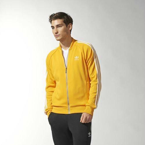 Спортивный костюм Adidas, желтый верх, черный низ, с лампасами R170