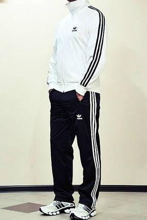 Спортивный костюм Adidas, белый верх, черный низ, с лампасами R169, фото 2