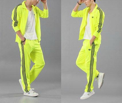 Спортивный костюм Adidas, лимонный костюм с лампасами, R172