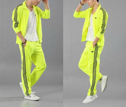 Спортивный костюм Adidas, лимонный костюм с лампасами, R172, фото 2