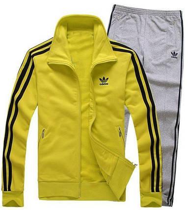 Спортивный костюм Adidas, желтый верх, серый низ, с лампасами R171, фото 2