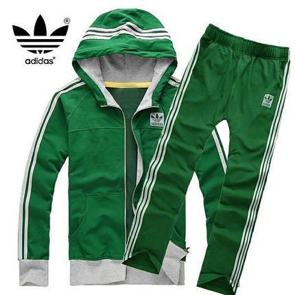 Спортивный костюм Adidas, зелёный костюм с капюшоном , с лампасами R173, фото 2