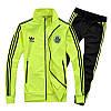 Спортивный костюм Adidas, лимонный верх, черный низ, с лампасами R180