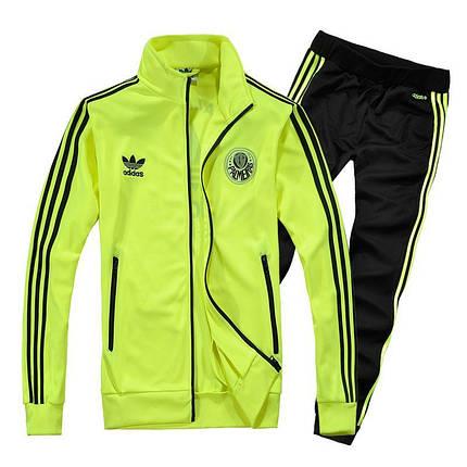 Спортивный костюм Adidas, лимонный верх, черный низ, с лампасами R180, фото 2