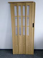Дверь гармошка межкомнатная полуостекленная, дуб светлый 269, 860х2030х10мм