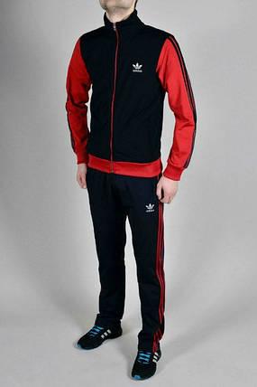 Спортивный костюм Adidas, черные туловище, красные рукава, черные штаны, с лампасами R181, фото 2