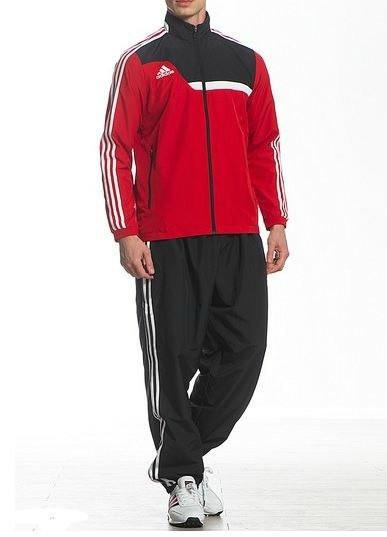 Спортивный костюм Adidas, красная коRта с черным верхом, черные штаны,с лампасами R185