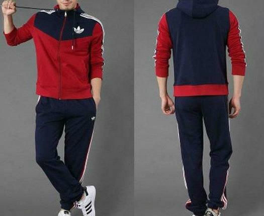 Спортивный костюм Adidas,красные рукава и перед коRты, синяя спина, синие штаны, с капюшоном,с лампасами, R183, фото 2