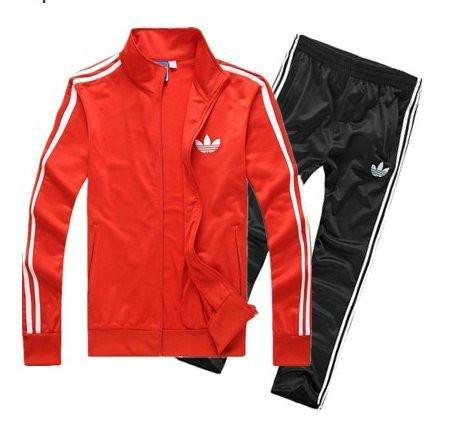 Спортивный костюм Adidas, красный верх, черный низ, с лампасами R189