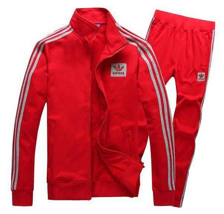 Спортивный костюм Adidas, красный костюм, с лампасами R195, фото 2