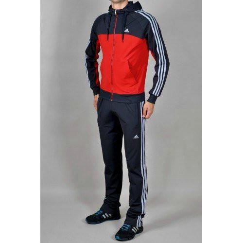 Спортивный костюм Adidas,красное туловище, синие рукава, синие штаны, с капюшоном,с лампасами, R196