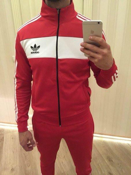 Спортивный костюм Adidas, красный костюм, с лампасами R204