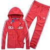 Спортивный костюм Adidas, красный костюм, с капюшоном, с лампасами R201
