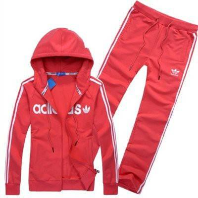 Спортивный костюм Adidas, красный костюм, с капюшоном, с лампасами R201, фото 2
