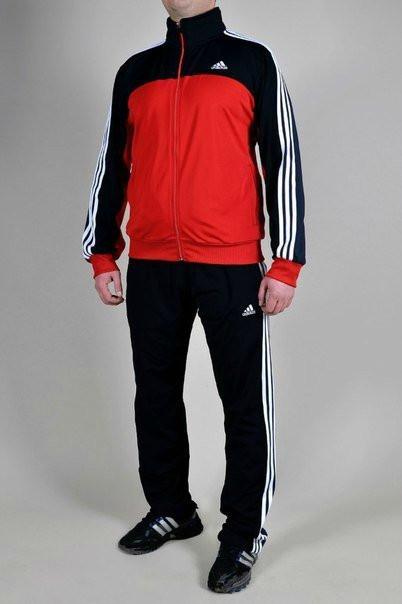 Спортивный костюм Adidas, красное туловище, черные рукава, черные штаны,с белыми лампасами R203