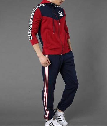 Спортивный костюм Adidas, красная коRта с синим верхом, синие штаны, с капюшоном, с лампасами R207, фото 2