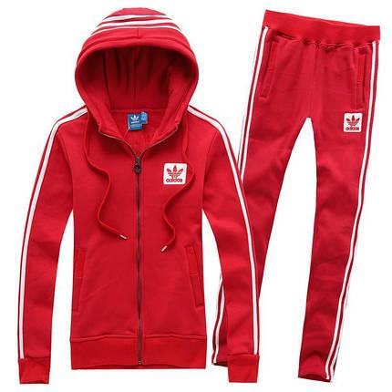 Спортивный костюм Adidas, красный костюм, с капюшоном, с лампасами R210, фото 2