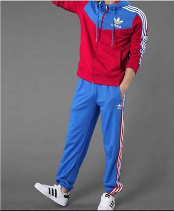 Спортивный костюм Adidas, красное туловище и рукава, голубой верх коRты, голубые штаны,с белыми лампасами R206, фото 2