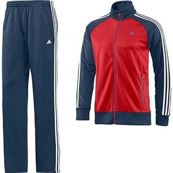 Спортивный костюм Adidas, красное туловище, черные рукава, черные штаны,с белыми лампасами R209