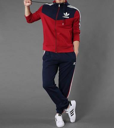 Спортивный костюм Adidas, красная коRта с синим верхом, синие штаны,с лампасами R208, фото 2