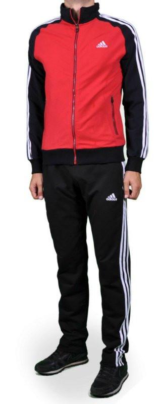 Спортивный костюм Adidas, красное туловище, черные рукава, черные штаны,с белыми лампасами R212