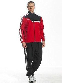 Спортивный костюм Adidas, красная коRта с черным верхом, черные штаны,с лампасами R215