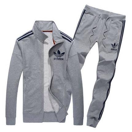 Спортивный костюм Adidas, серый костюм, с лампасами, R216, фото 2