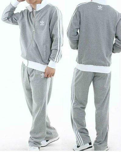 Спортивный костюм Adidas, серый костюм, с лампасами, R220