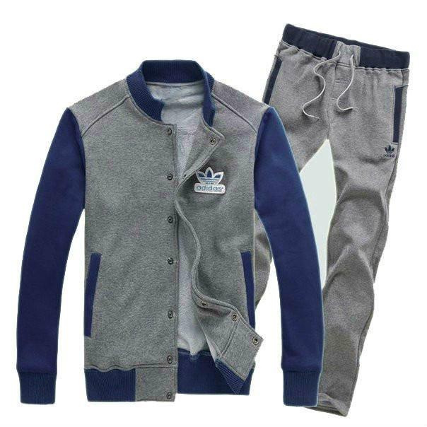 Спортивный костюм Adidas, серое туловище, синие рукава, серые штаны, R221
