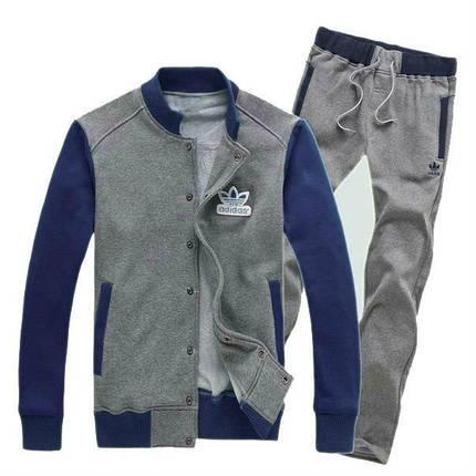 Спортивный костюм Adidas, серое туловище, синие рукава, серые штаны, R221, фото 2