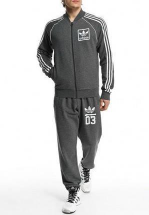 Спортивный костюм Adidas, темно-серый костюм, с лампасами, R225, фото 2