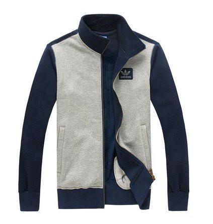 Спортивный костюм Adidas, серое туловище, синие рукава, серые штаны, R232