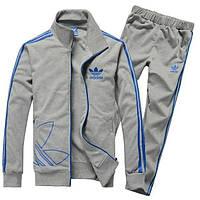 Спортивный костюм Adidas, серый костюм, с синими лампасами, R246