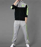 Спортивный костюм Adidas, черная коRта с серым верхом, серые штаны, с лампасами R266