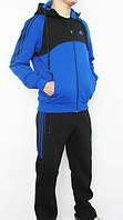Спортивный костюм Adidas, голубая коRта с черным верхом, черные штаны,с лампасами R306