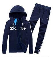 Спортивный костюм Adidas, темно-синий костюм, с капюшоном, с лампасами, R328