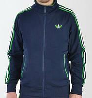 Спортивный костюм Adidas, темно-синий костюм, с салатовыми лампасами, R330