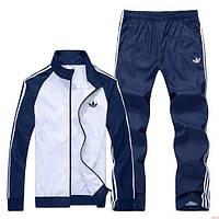 Спортивный костюм Adidas, белое туловище, темно-синие рукава, темно-синие штаны, с лампасами R336